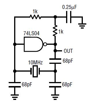 circuit collection oscillators 74ls04 xtal oscillator 10 mhz